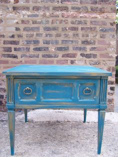 Large Vintage Teal Side Table by minthome on Etsy, $99.00