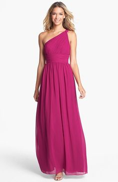 Donna Morgan Ruched One Shoulder Chiffon Gown available at #Nordstrom... my new dress for the MC Ball this year. Eeeek!