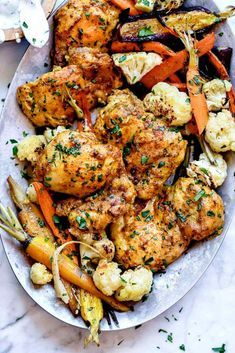 Traditional tandoori chicken is made in a clay oven, but this version of the classic Indian chicken dinner is baked on a sheet pan with Indian spiced vegetables for a complete meal any night of the week. Healthy Indian Recipes, Indian Chicken Recipes, Baked Chicken Recipes, Recipe Chicken, Healthy Food, Butter Chicken, Garlic Butter, Tandoori Chicken Recipe Indian, Grilled Chicken