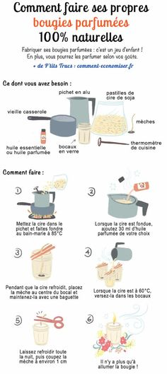 La Recette Facile Et Rapide Pour Faire Ses Bougies Parfumées Naturelles. Discover the recipe for DIY scented candles easy to make at home. No need to buy luxury candles! Homemade Scented Candles, Diy Organizer, Diy Kit, Diy Nightstand, Luxury Candles, How To Make Homemade, Mason Jar Crafts, Quick Easy Meals, Diy Design