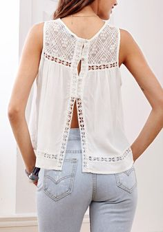 This beige open back lace top is crafted from a floral lace, a crew neckline and button closure at open back, together with cutout trim. | Lookbook Store