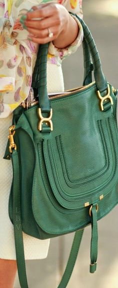 A gorgeous Chloe bag to match Gemoro emerald jewellery. Chloe Marcie Bag, Chloe Bag, Fashion Bags, Fashion Accessories, Fashion Jewelry, Madame, Beautiful Bags, My Bags, Purse Wallet