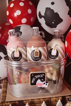 Farm Theme Birthday Party Girl Toddler 2 39, food table, milk bottles