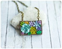 Succulent necklace  - Polymer clay necklace - Wooden necklace with succulents…