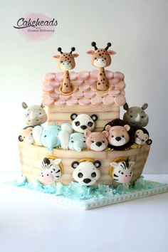 This is a beautiful baby shower cake! Baby Cakes, Baby Shower Cakes, Gateau Baby Shower, Cupcake Cakes, Kid Cakes, Pretty Cakes, Cute Cakes, Noahs Ark Cake, Fondant Animals