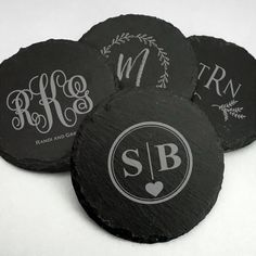 Personalized Monogram Round Slate Coasters. #partyfavors #weddingfavors #bridalshowerfavors #coasters #barware #slate #personalized #monogram Tea Favors, Edible Wedding Favors, Personalized Wedding Favors, Cool Coasters, Slate Coasters, Champagne Gummy Bears, Shower Hostess Gifts, Candy Grams, Teacher Appreciation Gifts