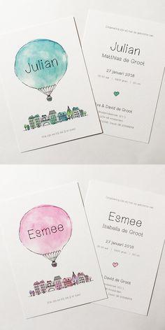 Kikker & Prins - Geboortekaartje Julian & Esmee. Te bestellen via www.kikkerenprins.nl: geboortekaartjes Julian & Esmee! #geboortekaart #geboortekaartje #geboortekaartjes #jongen #jongetje #meisje #meisjes #jongens #baby #geboorte #ontwerp #illustratie #luchtballon #balloon #birth #birthannouncement #illustration #kids #babyopkomst #aquarelle #jongenofmeisje #babyboy #babygirl