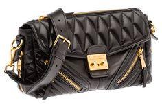 Miu Miu Nappa Biker Shoulder Bag in Black Matelassé Leather Purse Handbag  RR1904 F0002 Miu Miu dd7a37a40e