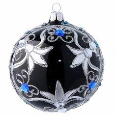 Bola de Navidad vidrio soplado decoración negra y plateada | venta online en HOLYART
