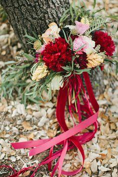 Red velvet ribbon bouquet | Autumn Vineyard Inspiration