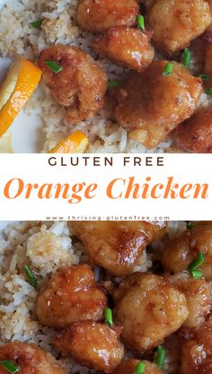 This Gluten-Free Orange Chicken will completely satisfy your Chinese takeout cravings! The chicken is grain-free using tapioca flour, tender & crispy, then coated in an easy sweet and spicy homemade orange sauce. Gluten Free Chinese Food, Homemade Chinese Food, Gluten Free Recipes For Dinner, Gf Recipes, Foods With Gluten, Gluten Free Cooking, Dairy Free Recipes, Eating Gluten Free, Chinese Food Recipes Chicken