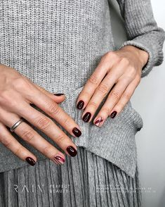120 nails 2019 acrylic design trend idea - Page 47 of 120 106 Dark Nails, Red Nails, Hair And Nails, Cute Nails, Pretty Nails, Gel Nagel Design, Manicure Y Pedicure, Manicure Ideas, Minimalist Nails