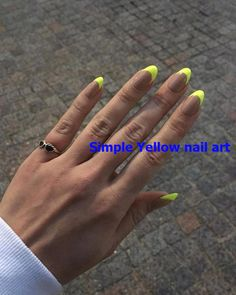 Neon Nails Are the Fun, Fluorescent Way to Brighten Up Your DayYou can find Neon nails and more on our website.Neon Nails Are the Fun, Fluorescent Way to Brighten Up You. Summer Acrylic Nails, Cute Acrylic Nails, Summer Nails, Cute Nails, Pretty Nails, Yellow Nails Design, Yellow Nail Art, Neon Yellow Nails, Neon Green