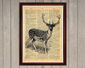 Deer animal nature antlers print Rustic decor Cabin Vintage Retro poster Dictionary page Home interior Wall 0005