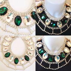 #collana in #cristalli #trasparenti e #verdi su filo. su www.oro18.eu #oro18 #bigiotteria #bijoux