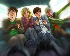 Percy Jackson! With Annabeth, Tyson, and Grover in an insane taxi driven by the Gray Sisters from Sea Of Monsters
