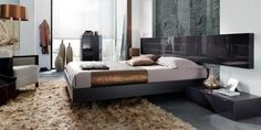 Bedroom combination depicted in graphite lacquer (headboard gloss, bed and cabinets in matt). Available in other lacquer finishes and wood. Bedroom Sets, Bedroom Furniture, Wood, Home Decor, Headboards, Beds, Black, Bed Furniture, Decoration Home