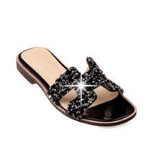 40 - 47 Plus Size Women's Slippers Flat Shoes Casual Rhinestone Designer Flats Sandals &Flip Flops Slides For Women Black White