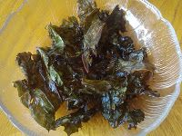 Kale Chips - not raw, but an interesting article about why it's better to cook than eat raw to protect your thyroid, will have to investigate when I have time.
