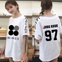 KPOP BTS Wings Tie T-shirt Bangtan Boys Jung Kook Tshirt Short Sleeve Jimin Jin
