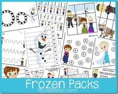 Free Frozen packs for toddler, preschool, kindergarten, first, second, and third grades!