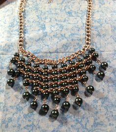 Glass Pearl Bib Necklace by ChellesUniqueDesigns on Etsy, $40.00
