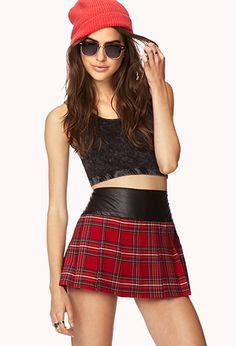 edgy clothing for women-forever 21 edgy plaid mini skirt Edgy Outfits, Skirt Outfits, Fashion Outfits, Fashion Styles, Women's Fashion, Tartan Mini Skirt, Tartan Skirts, Leather Blazer, Red Plaid
