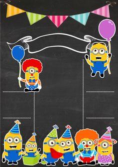 Minion Birthday Invitations, Diy Invitations, Invite, Scrapbook Da Disney, Minion Theme, Baby Girl Quotes, Mickey Mouse Wallpaper, Printable Invitation Templates, Cute Frames