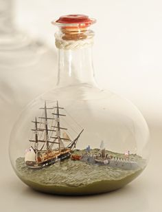 """Ship in bottle: """"The Ramming and Sinking of the USS Cumberland by the CSS Virginia"""" by Thomas Applegate."""
