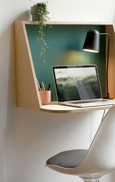 The suspended desk is delivered flat and quickly mounted thanks to an intelligent and solid invisible system.Size: Width x Height x Depth Material: Wood Small Apartment Furniture, Diy Furniture, Furniture Design, Desks For Small Spaces, Small Apartments, Work Spaces, Home Office Design, Home Office Decor, Home Decor