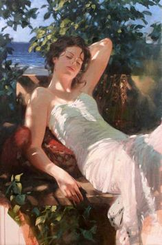"""Gentle Breeze"" by Richard S Johnson - 36 x 24 Original Oil on Canvas."