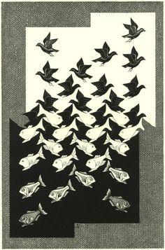 Sky and Water II.  December 1958  Woodcut