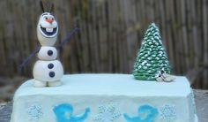 tarta de Olaf de frozen. Olaf en fondant, buttercream. decoracion con isomalt
