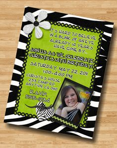 Lime Green Zebra Print Tween Teen Birthday Party Invitation Invite. $7.75, via Etsy.