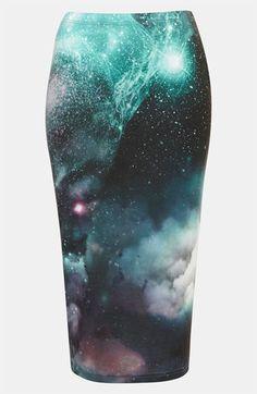 Galactic Glam: Topshop Cosmic Print Tube Skirt | Nordstrom
