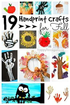19 Handprint crafts for fall: A terrific collection of fall crafts for toddlers, preschoolers and kindergarten students. Easy and adorable art projects for the classroom or daycare for autumn. – Happy Hooligans Source by PaulaRollo Autumn Crafts, Thanksgiving Crafts, Holiday Crafts, Daycare Crafts, Preschool Crafts, Kids Crafts, Preschool Classroom, Fall Crafts For Toddlers, Toddler Crafts