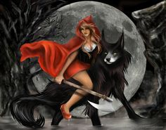 RED Riding The Wolf by MonAshk.deviantart.com