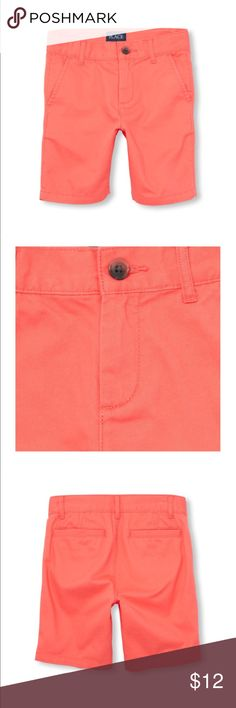 Boys Solid Woven Shorts A ready-to-dress-up (or down!) short for all occasions. Made of 100% cotton twill; peached for a fuzzy feel Button closure with zipper fly Slant pockets at sides; back welt pockets Inner adjustable waist tabs for a custom fit Pre-washed for an extra-gentle feel and to reduce shrinkage Color Coral Children's Place Bottoms Shorts
