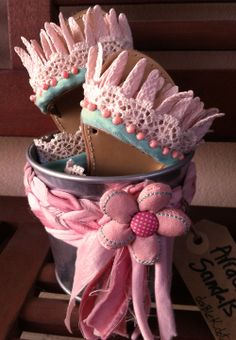 #love #little #girls #pink #mint #lace #beads #leather #sandals  #packaging counts too..