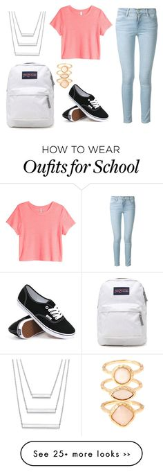 """second day of school outfit inspiration"" by bubblygirl11 on Polyvore featuring Frame Denim, H&M, Vans, JanSport and Monsoon"