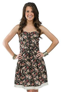 Tulle Ladies Black Antique Floral Print Sweetheart Spaghetti Strap Dress. This dress would be great for a summer party!
