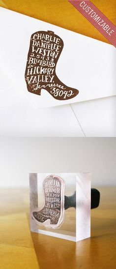 Custom Rubber Address Stamp (Cowboy Boot)  I could make something like this with the laser cutter!