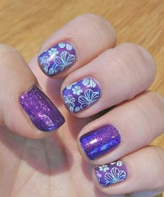 Spring Shellac nails in purple with glitter and white Konad stamping nail art. www.beckys-beauty.co.uk. Konad Stamping, Shellac Nail Art