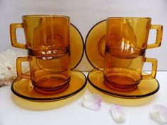 1970s Vintage Vereco French Amber Coffee Cups and by EdenKitsch