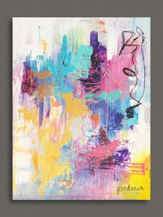 48x36 ORIGINAL Bright, Vivid, Turquoise, Gold, Pink, Purple Abstract painting