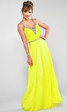 Yellow Long/Floor-length Sweep/Brush Train Backless Neon Prom Dress PD349A