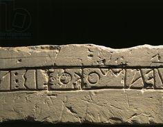 Inscription with dedication to deities, Detail of Celtic alphabet, from Prestino, Como province. Celtic civilization, Italy, 6th century b.C.