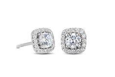 Cushion Halo Diamond Stud Earrings - in 18kt White Gold