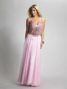 Amazing Pink Beaded Prom Dress with Spaghetti Straps