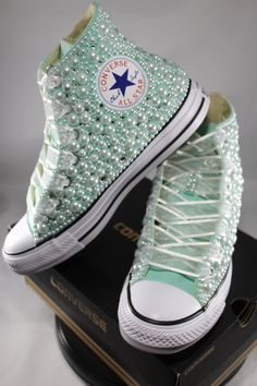 Bridal Converse- Wedding Converse- Bling & Pearls Custom Converse Sneakers- Personalized Chuck Taylors- All Star Converse Sneakers- Bride by DivineUnlimited on Etsy Bedazzled Converse, Bridal Converse, Rhinestone Converse, Wedding Sneakers, Wedding Shoes, Bride Sneakers, Bridal Shoes, Diy Wedding, Custom Converse